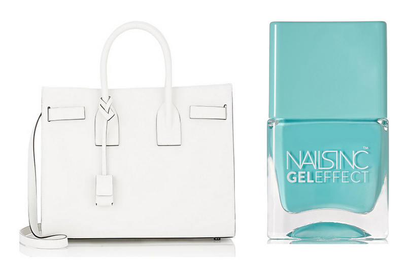 bolsa-e-esmalte-le-chodraui-ribeirão-preto-blog-de-moda-e-beleza-Saint-Laurent-Sac-de-Jour-Tote-and-Nails-Inc-Gel-Effect-Nail-Polish-in-Queens-Garden