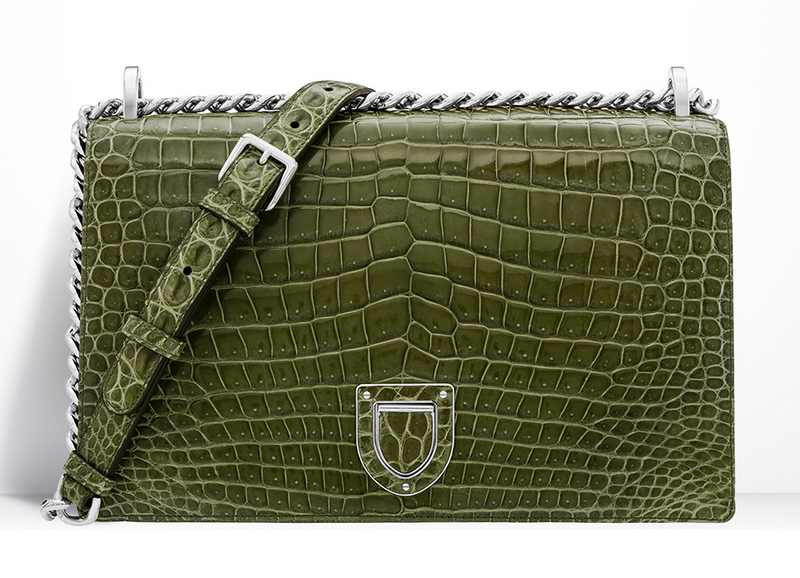 Christian-Dior-Diorama-Crocodile-Bag-Olive-Green