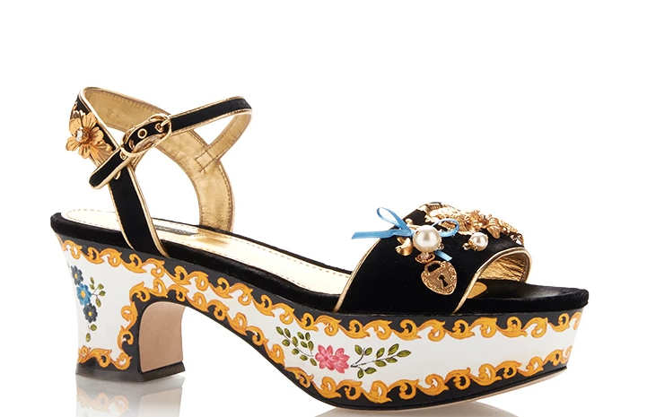 Dolce-and-Gabbana-Velvet-Embellished-Painted-Platforms