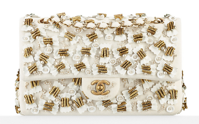 Chanel-Beaded-Classic-Flap-Bag-White