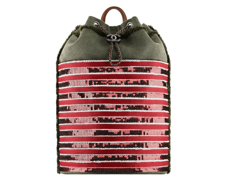 Chanel-Cuba-Khaki-and-red-embroidered-toile-backpack
