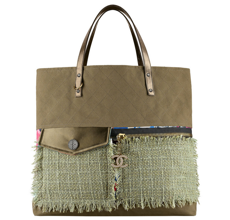 Chanel-Cuba-Khaki-toile-and-tweed-shopping-bag